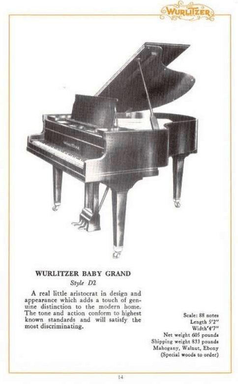 Wurlitzer Baby Grand D2 Foto de Catálogo