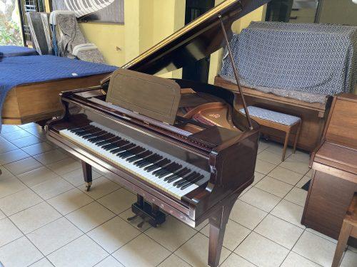 Este piano de 1/4 de cola John Broadwood & Sons, tiene un mueble en excelente estado color caoba (café oscuro). Además de sus teclas de marfil, cuerdas, placa de metal, maquinaria los cuales también están en excelente estado. Su sonido es dulce y melodioso, ideal para una sala pequeña.